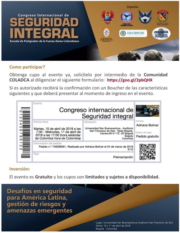 COLADCA les invita al Congreso Internacional de Seguridad Integral ...